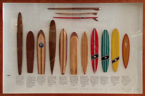 Tasmanian Timber Surfboard Set ~ 'Surfboards of Hawaii & California' - Gallery Salamanca Tasmania