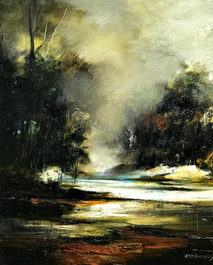 Peter Barraclough Painting ~ 'Early Mist, Huon River' - Gallery Salamanca Hobart Tasmania