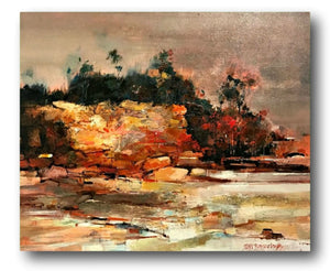 Peter Barraclough Painting ~ 'Foreshore at Kingston'  - Gallery Salamanca Hobart Tasmania