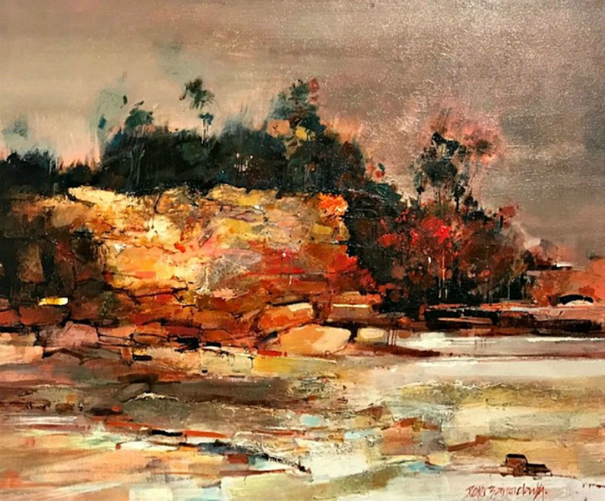 Peter Barraclough Painting ~ 'Foreshore at Kingston' (Tasmania) - Gallery Salamanca Hobart Tasmania