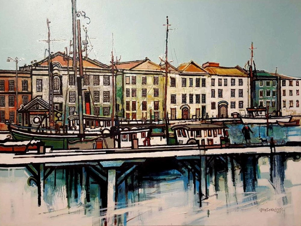 Peter Barraclough Painting ~ 'Franklin Wharf, Hobart' - Gallery Salamanca Hobart Tasmania