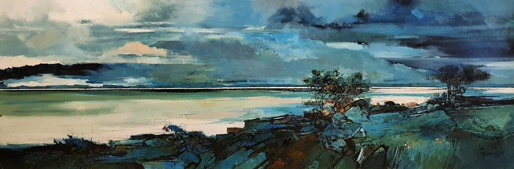 Peter Barraclough Painting ~ 'Mount Wellington Across the Derwent' - Gallery Salamanca Hobart Tasmania