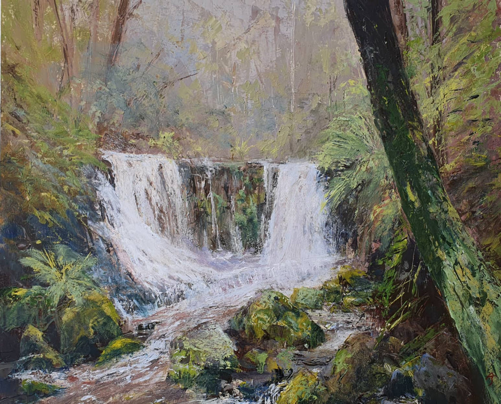 Peter Smith Painting ~ 'Horseshoe Falls - Mount Field' - Gallery Salamanca Hobart Tasmania