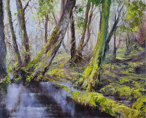 Peter Smith Painting ~ 'Still Water - Cradle Mountain' - Gallery Salamanca Hobart Tasmania