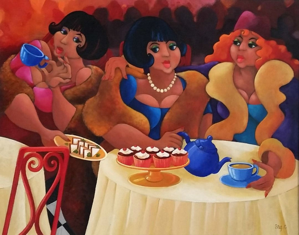 Stef Callaghan Painting ~ 'High Tea' - Gallery Salamanca Tasmania