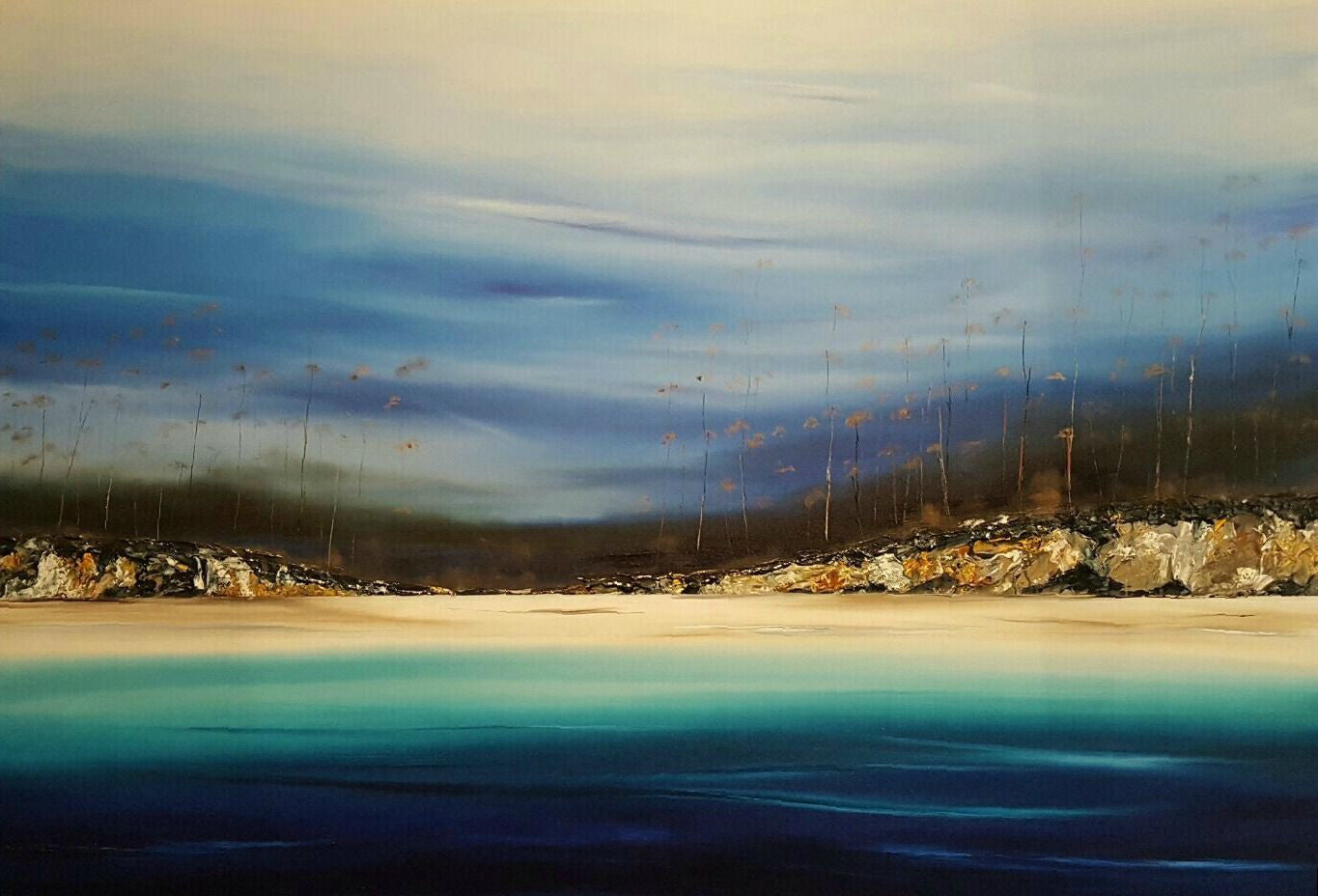Stuart Clues Painting ~ 'Forest Meets Shore, Lime Bay' - Gallery Salamanca