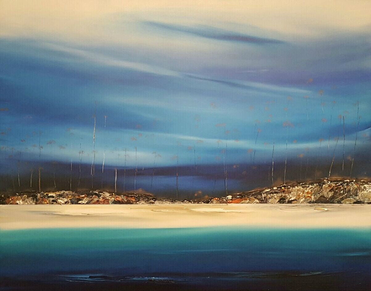 Stuart Clues Painting ~ 'Late Afternoon at Lime Bay' - Gallery Salamanca Tasmania