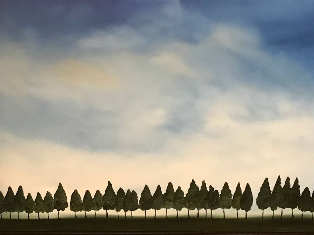 Stuart Clues Painting ~ 'Whimsical Pines on Oatlands Farm' - Gallery Salamanca Tasmania