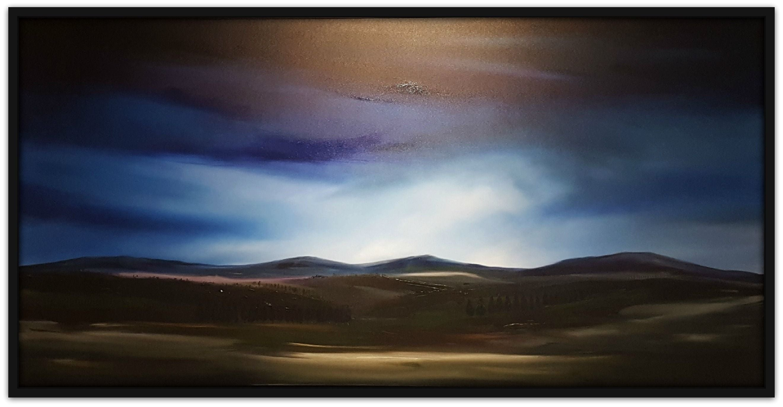 Stuart Clues Painting ~ 'Moonlight and Mist Over Coal Valley' - Gallery Salamanca
