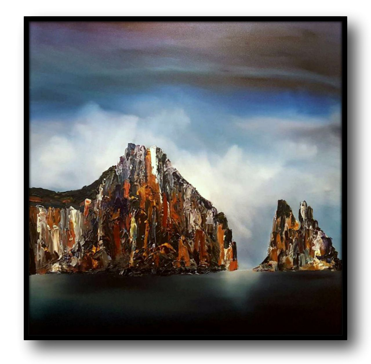 Stuart Clues Painting ~ 'Morning Mist at Cape Pillar' at Gallery Salamanca Hobart Tasmania