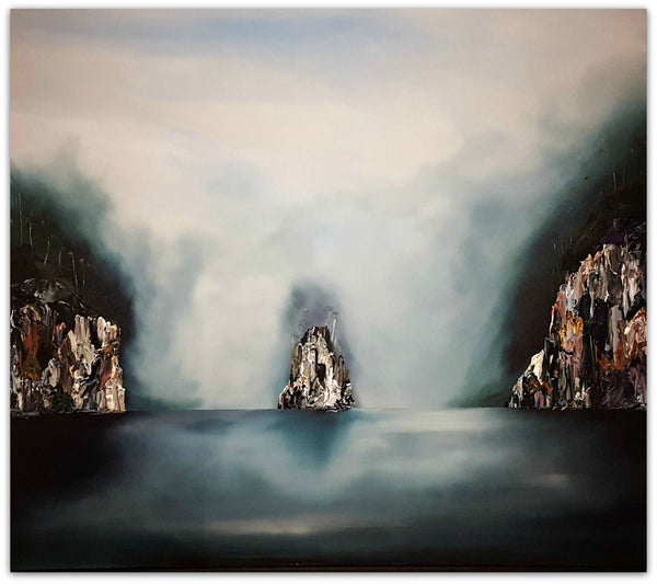 Stuart Clues Painting ~ 'Where Two Rivers Meet' - Gallery Salamanca Tasmania