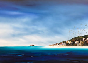 Stuart Clues Painting ~ 'Summer Days at Spring Beach' - Gallery Salamanca Tasmania