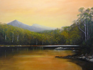 Tony Ryan Painting ~ 'Evening Glow - Cockle Creek' - Gallery Salamanca