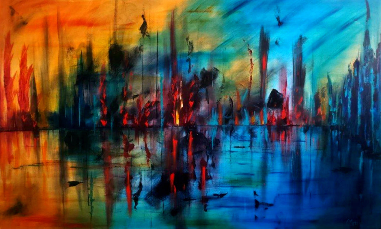 Tasmanian Abstract Artist Mitch Miller Painting ~ 'Ignited' - Gallery Salamanca Hobart Tasmania