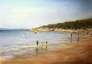 Tony Ryan Painting ~ 'A Morning Stroll, Blackman's Bay Beach' - Gallery Salamanca Hobart Tasmania