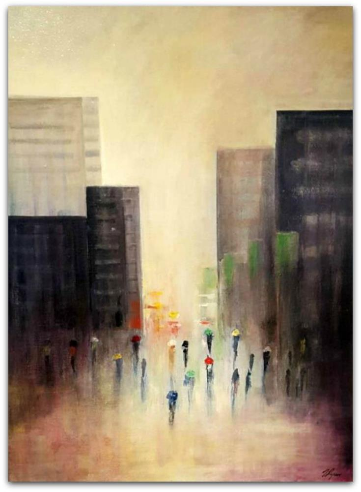 Tony Ryan Painting ~ 'Don't Forget Your Umbrella' - Gallery Salamanca Hobart Tasmania