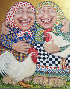 Zina Kurtschenko Painting  ~ 'The Laughing Babas - Out of Control and Loving It' - Gallery Salamanca