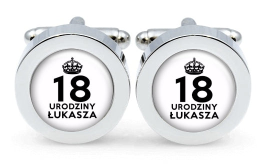 Spinki do mankietów, Keep Calm 18 urodziny prezent - spinkiplus, srebrne, złote, kwadratowe, ślubne, ślub, pan młody, ślub, czarne, białe, bordowe, grawer, prezent