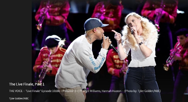 Steffi K Jewelry on The Voice Season 10 Finale: Hannah Huston on stage with her coach, Pharrell