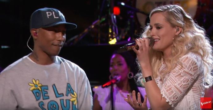 The Voice Finale, on stage with Pharrell. Hannah Huston wears Steffi K Jewelry rings and cuff