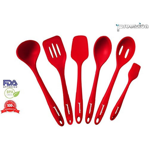 Set of 6 Premium Silicone Utensil Bundle Hygienic One Piece Solid Silicone Design in Red 100% Food Grade Safe