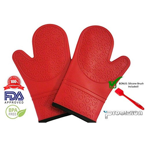 Silicone Mitts 1 Pair in Red Ultra Flex and Soft for Oven Cooking Mittens Bundle Includes Silicone Brush