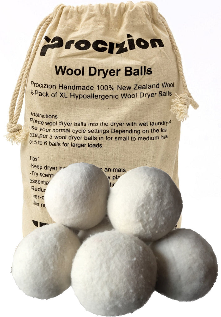 Wool Dryer Balls 6 Pack XL Made of 100% Premium, Organic Wool, Handmade, Non-Toxic, All Natural Eco-Friendly Reusable Fabric Softener