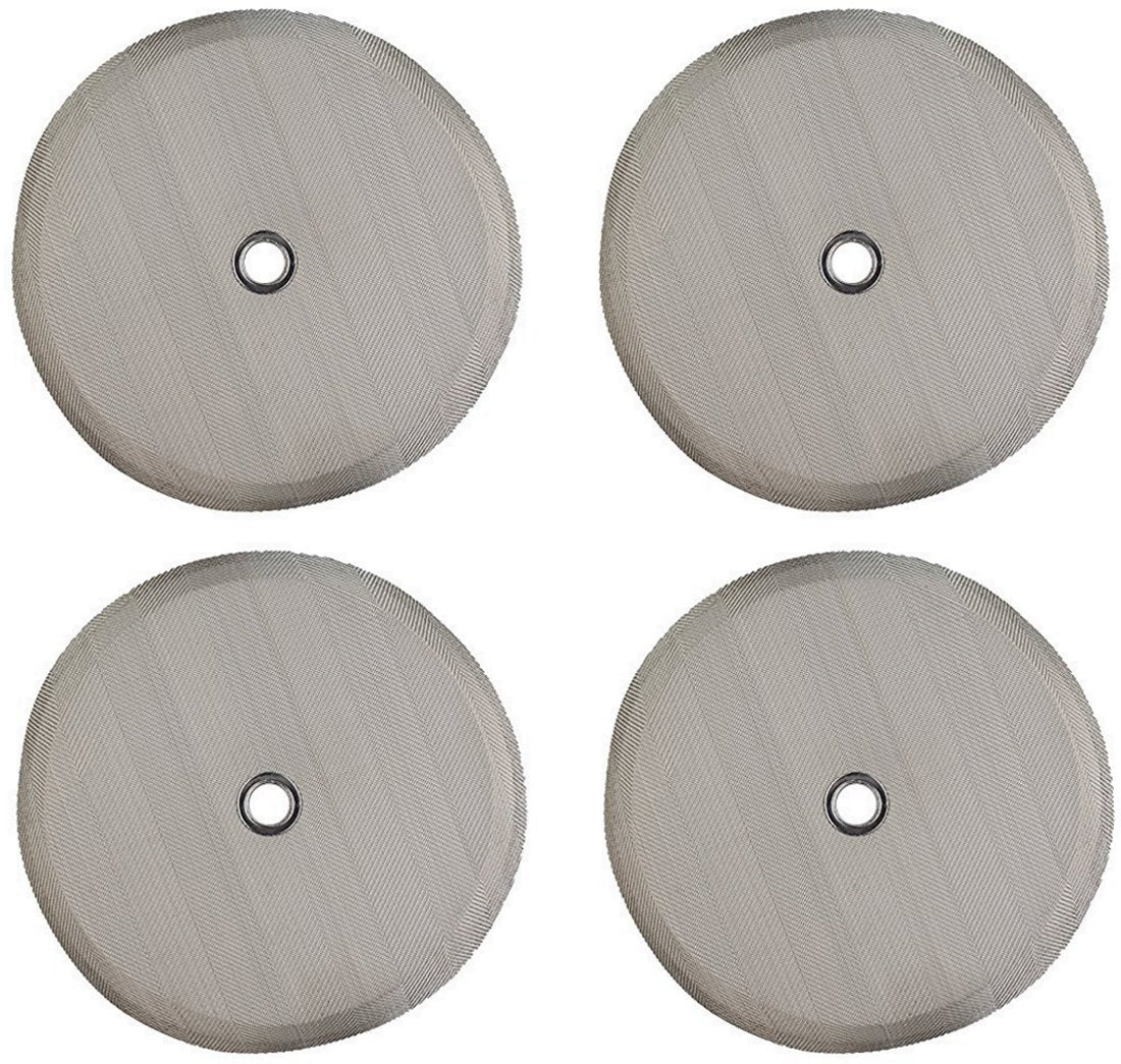 Universal Replacement Filter For French Press - 34 Oz / 1 Liter / 8 Cup Press (4 Pack) - Fits Most Coffee Presses - Includes Metal Center Ring