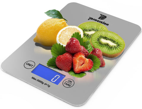 Digital Multifunction Kitchen Food Scale Bundle with Measuring Spoons, Cleaning Cloth and Batteries Measures up to 11 Lbs Backlit LCD (Silver - Frustration Free Package) [Wholesale Case of 24]