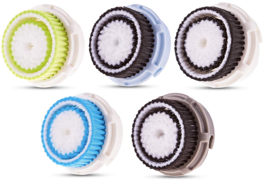 Compatible Replacement Brush Heads Value 5 Pack Includes Deep Pore, Acne, Sensitive, Normal, Delicate
