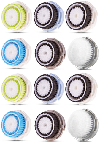 Replacement Brush Heads Includes 2 of Sensitive, Deep Pore, Acne, Normal, Delicate, Cashmere (12 Pack)