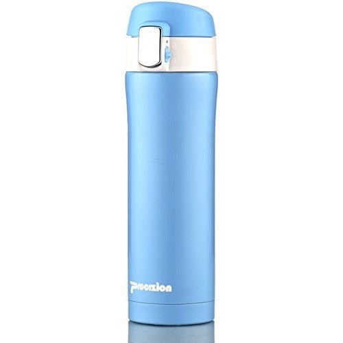Insulated Stainless Steel Vacuum Flask Travel Mug, Compact Leak Proof Beverage Thermos Bottle, Blue - 16 oz