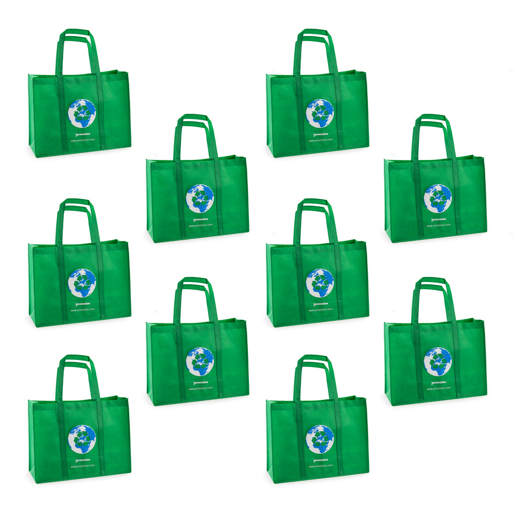 Reusable Grocery Tote Shopping Heavy Duty Bag with Reinforced Handles (Small Set of 10)