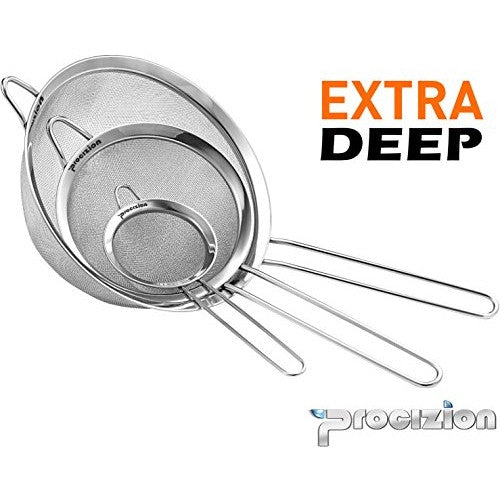 Stainless Steel Set of 3 Fine Mesh Strainer All Purpose Extra Deep Colander Sieve for Superior Baking and Cooking Preparation (3 Pack Deep)