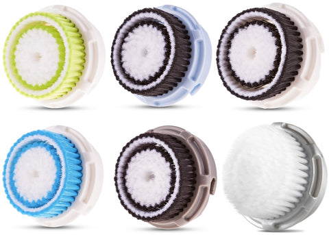 Compatible Replacement Clarisonic Brush Heads Value 6 Pack Includes Deep Pore, Acne, Cashmere, Sensitive, Normal, Delicate