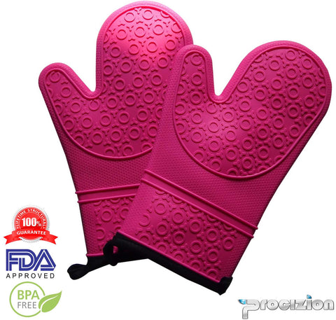 Silicone Mitts 1 Pair in Pink Ultra Flex and Soft for Oven Cooking, Kitchen Baking, BBQ Grill Heat, Cold, Water, Oil and Steam Resistant Bundle Includes Silicone Brush