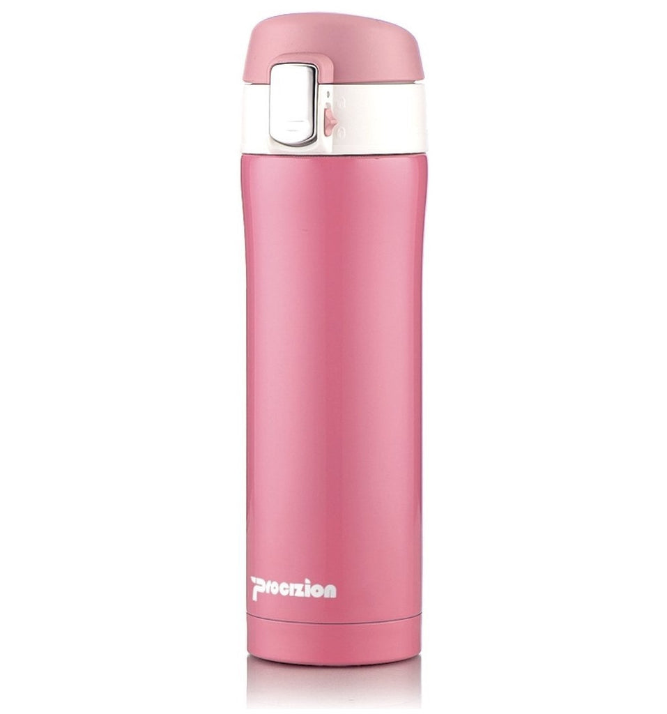 Insulated Stainless Steel Vacuum Flask Travel Mug, Compact Leak Proof Beverage Thermos Bottle, Pink - 16 oz