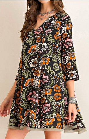 Tassels N Lace Print Dress