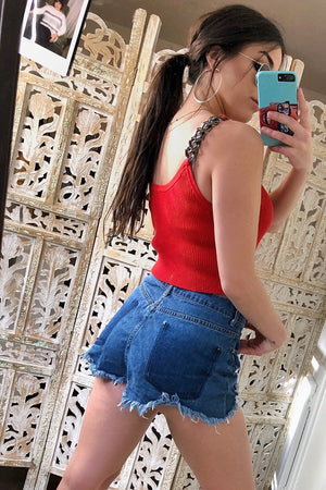 Chained Red Crop Top