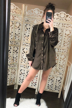 Dark Olive Suede Long Sleeve Button Down