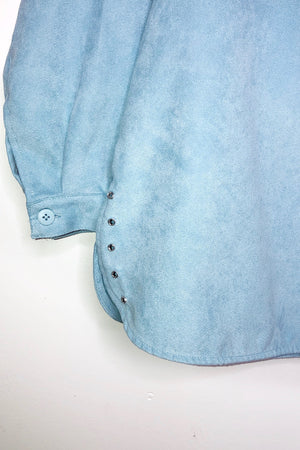 Baby Blue Suede Oversized Button Down