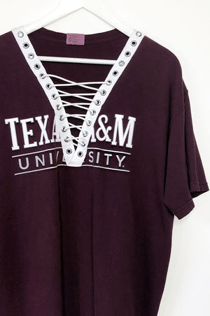 Texas A&M Lace Up T-Shirt