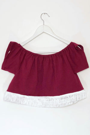 Texas A&M Off the Shoulder Fridge Crop Top