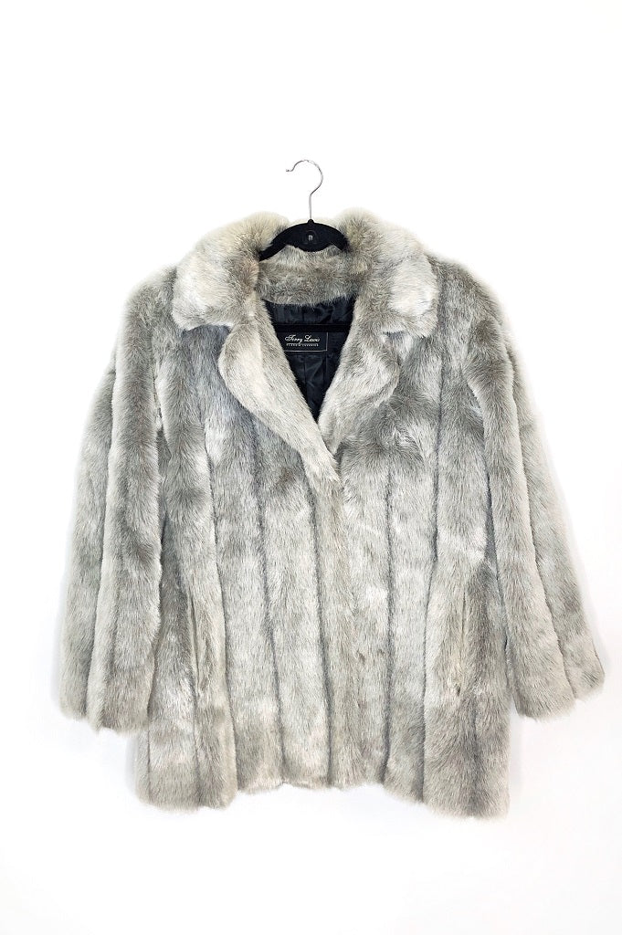 Grey Faux Fur Trench Coat