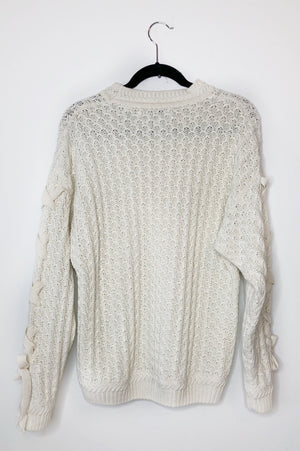 White Knit Lace Up Sleeve Oversize Sweater