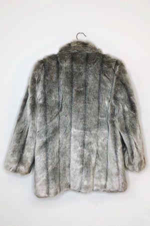 grey faux fur coats