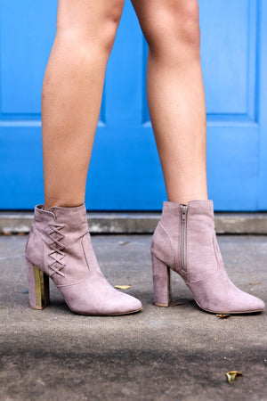 Intertwined Forever Taupe Suede Ankle Boots