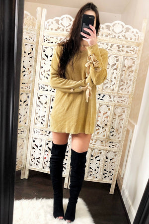Tie Wrist Knit Sweater Dress