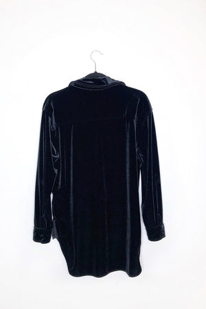 Black Suede Long Sleeve Button Down