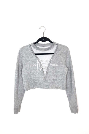NY Lace Up Cropped Sweater